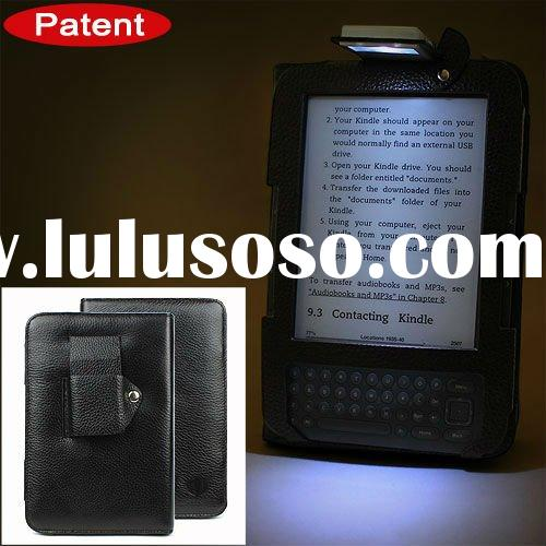 Genuine leather made with fashionable reading LED lamp for kindle hard cover