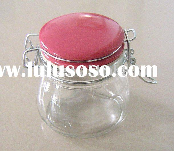 Glass storage jar with ceramic lid