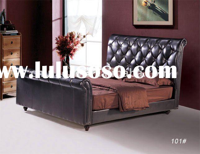 Golden furniture new design bedroom sleigh bed/ leather sleigh bed 101#