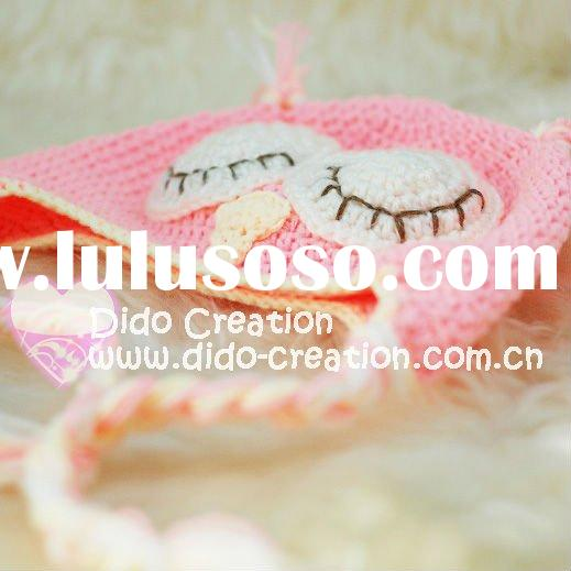 H05C035D1 Hand fashion Crochet Baby kufi Hats cap Beanie flower animal new born baby gifts earflap