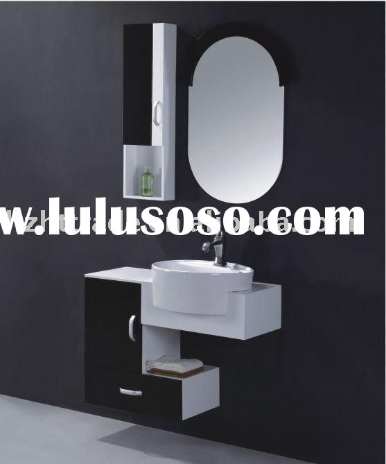 HTBC-5075 Black modern and small bathroom wall cabinets