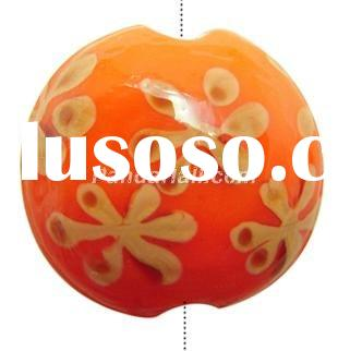 Handmade Lampwork Glass beads, Flat round, about 16mm in diameter, 9mm thick, hole: 2mm. (L00DS031)