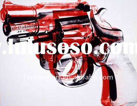 Handmade Pop Art Painting,Gun by Andy Warhol