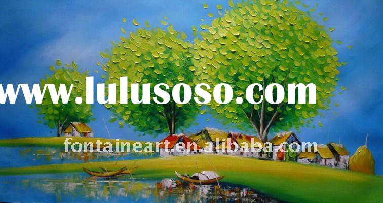 Handmade canvas Oil Painting Landscape,palette knife,green,blue