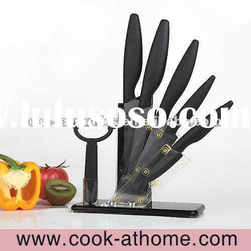 High quality ceramic knife set with non-slip clear acrylic block