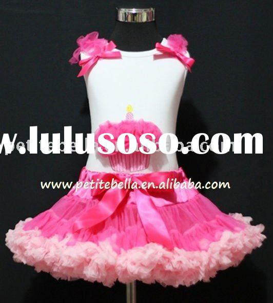 Hot Light Pink Pettiskirt,White Pettitop with Hot Pink Birthday Cupcake Top,Colthing Set ,Skirt,Shir