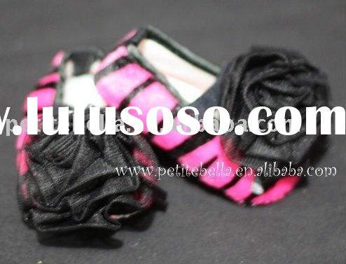 Hot Pink Zebra Print Shoes with Black Rosettes Pettishoes Crib Shoes MAS32