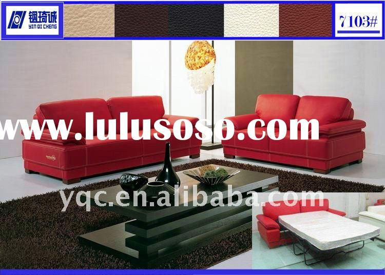 Hot sale good quality modern thick italian leather sofa bed 7103