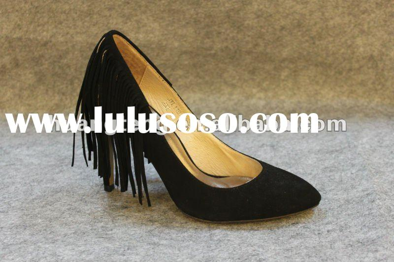 Italy design leather high heel shoes