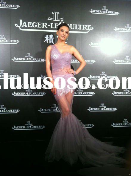 JJ004 2011 new style latest one shoulder appliqued transparent violet sheer red carpet dress