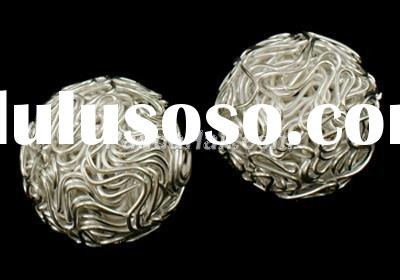 Jewelry Findings, Beads, Iron, Round, Silver Color, about 20mm in diameter(E403-S)