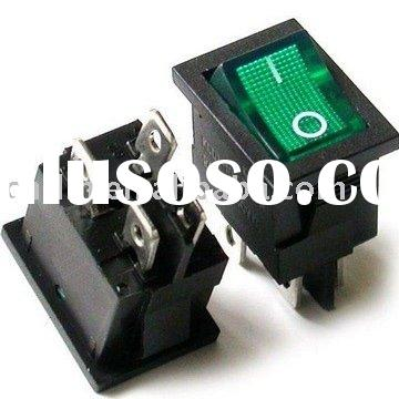 KCD1-104N Snap-in OFF-ON GREEN illuminated ROCKER SWITCH