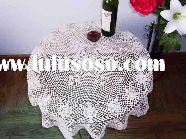 KT04001 Handmade Crochet white carved round lace Tablecloth 100 Cotton tablecloths