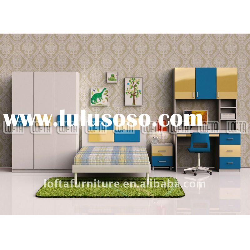 Kid bedroom furniture set computer table, single bed and childrens wardrobe