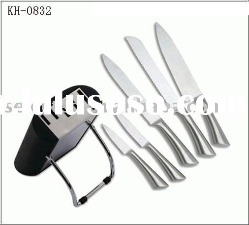 Kitchen knife set in s.s. hollow handle and with a metal block