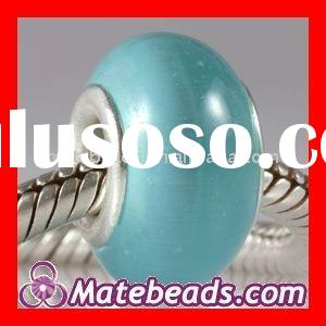 Lampwork Glass Beads With Sky Blue Cat Eye