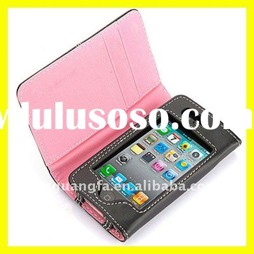 Leather Wallet Flip Case for Apple iPhone 4 4S Credit Card Holder Cover Accessories New 9colors Pink