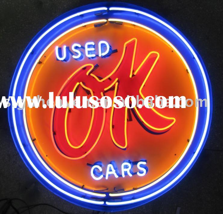 OK used cars Metal box Neon Sign