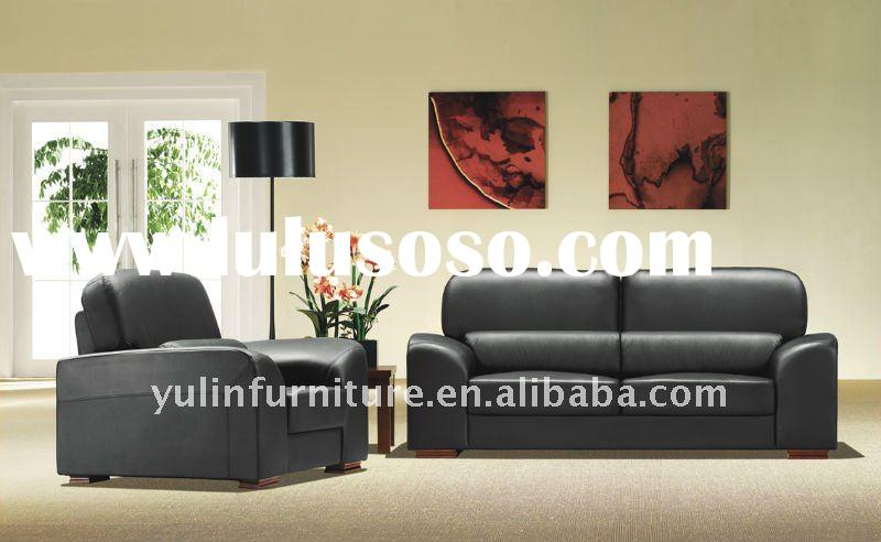 Office Black leather Sofa set