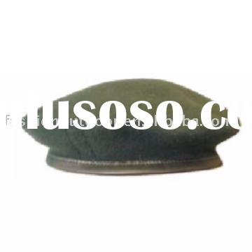 Olive green real leather side military beret for air force