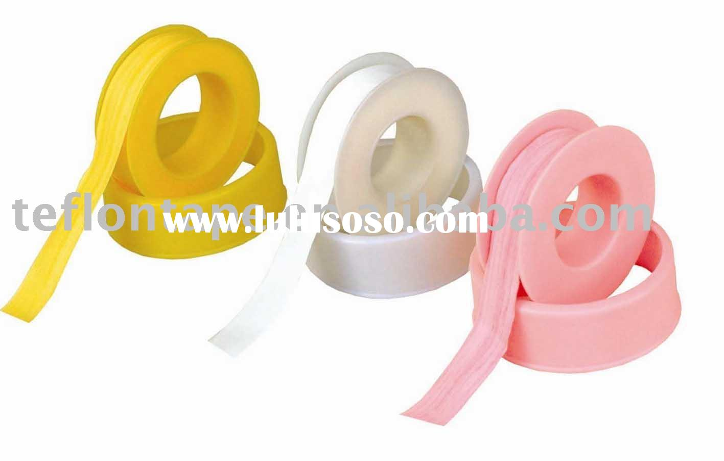 Pink,white and yellow PTFE gas pipe sealing tape