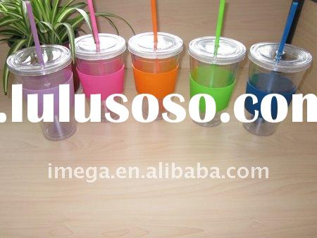 Plastic double wall drinking tumbler flat lid unique straw