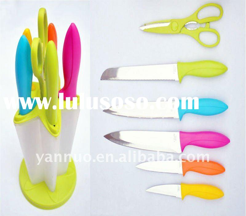 Plastic handle colorful kitchen knife set with block