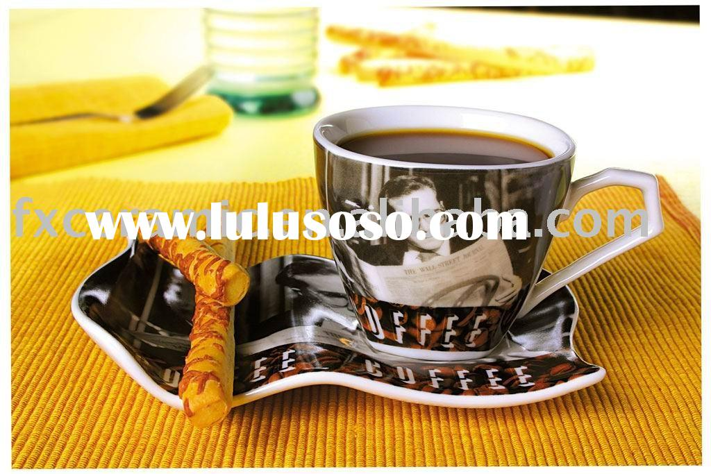 Porcelain coffee cup with snack plate ( ceramic coffee/tea set )