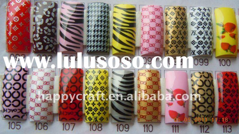 Pre-Design Airbrush French False Acrylic Gel Nail Art Tips