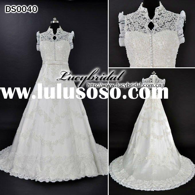 Real Swarovski Crystal Off-Shoulder Satin Lace Beaded Bridal Wedding Dress DS0040