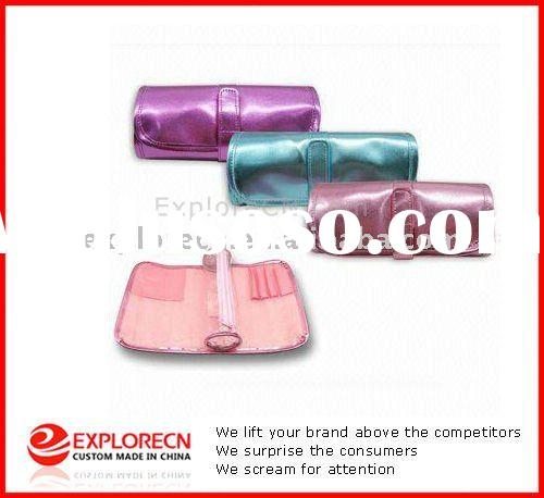 Rolled Multifunctional Make Up bag With Brush Pockets and Clear PVC Purse