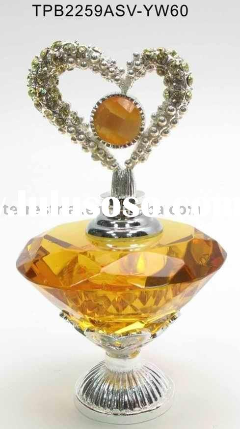 Silver plating hand-cut empty crystal perfume bottle decorative perfume bottle custom made crystal p