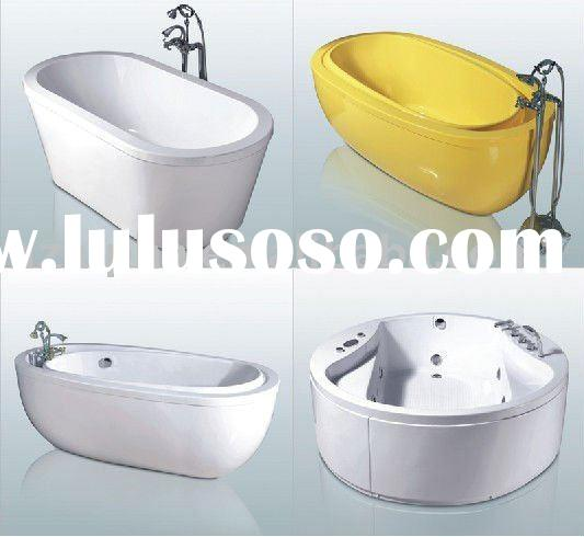Simple design acrylic bathtub with anti-slip tray with A glass ABS sheet