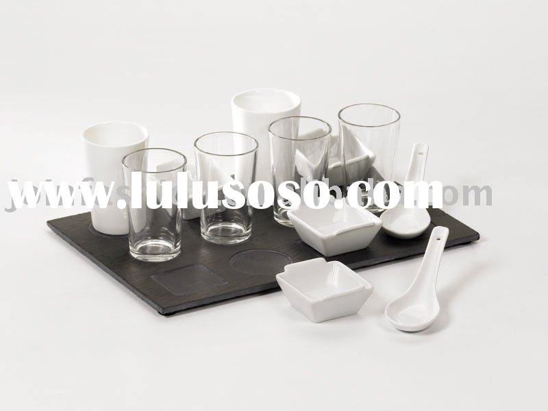 Slate tray & Porcelain /Glass Tableware (Slate tray &Porcelain Cups,spoon,Glass cups)