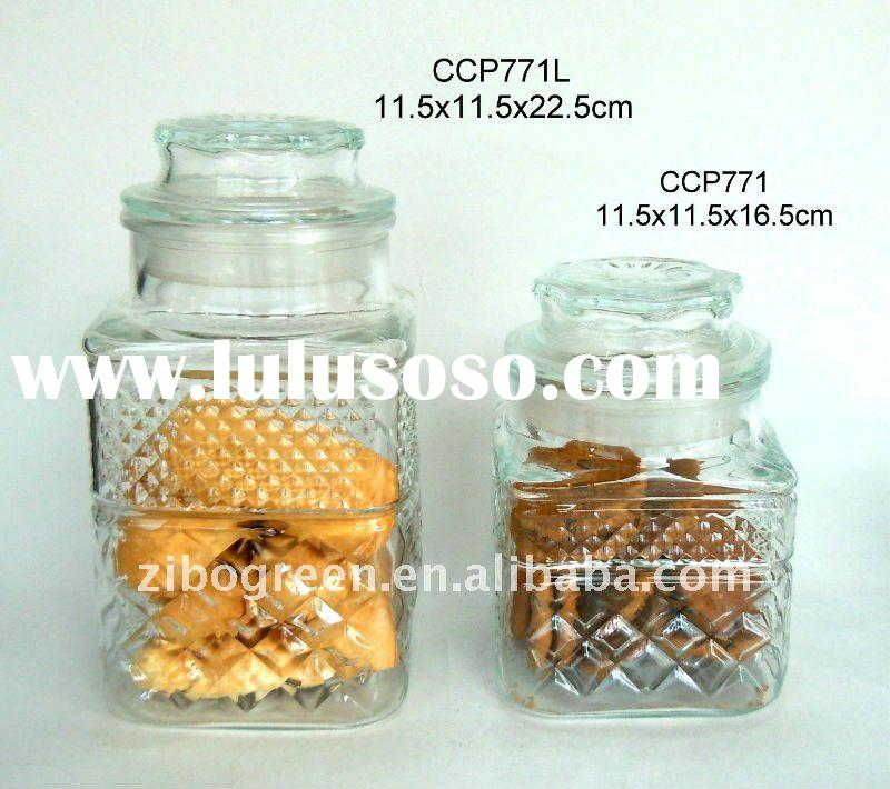 Square glass candy jar with glass lid (CCP771)