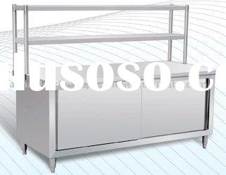 Stainless steel kitchen cabinet with double shelves