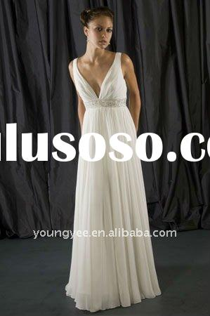Superior quality chiffon Grecian style swarovski wedding dress with beaded