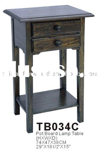 TB034C hand carved wooden antique Pot board Lamp Table