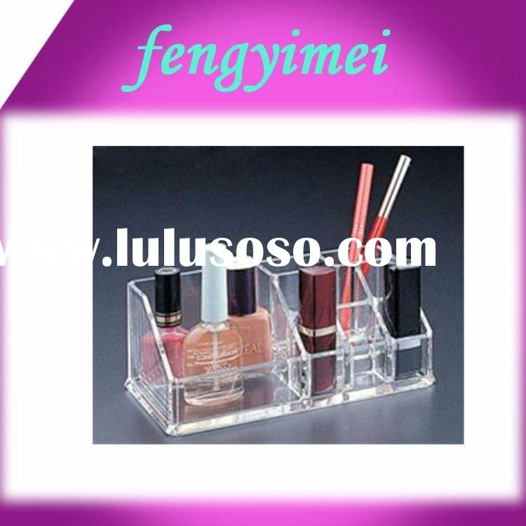 Transparent Trapeziform Acrylic Cosmetic Holders for The Display of Nail Polish and Eye Brow Pencil
