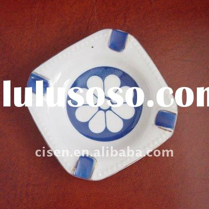 Vintage Flower Ceramic Blue and White Ashtray