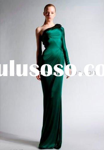 ZF032 Fall Winter 2010-2011 One shoulder long sleeve mermaid haute couture evening dress