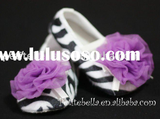 Zebra Print Shoes with Dark Purple Rosettes Pettishoes Crib Shoes MAS07