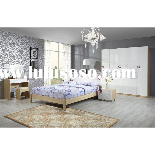 #BS006 modern bedroom furniture set in white beech with flower pattern