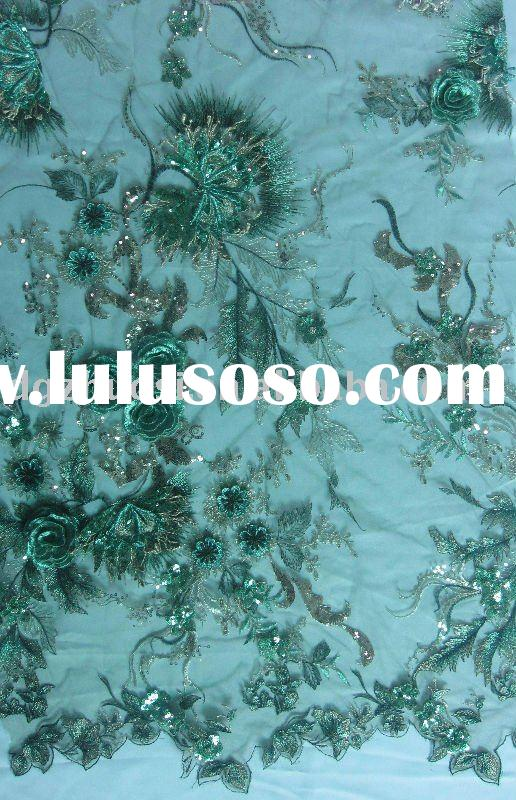 beaded lace fabric/embroidery lace fabric/fancy dress fabric