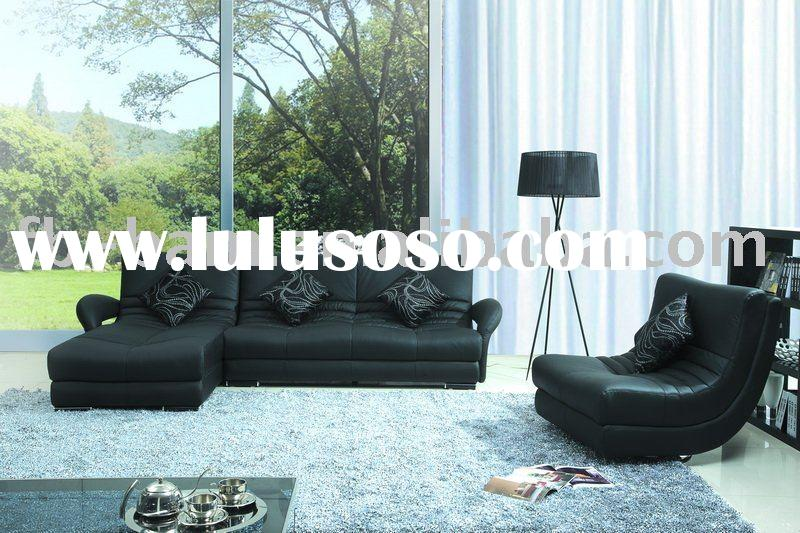 black leather sofa F8020