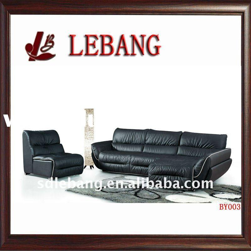 black leather sofa set BY003