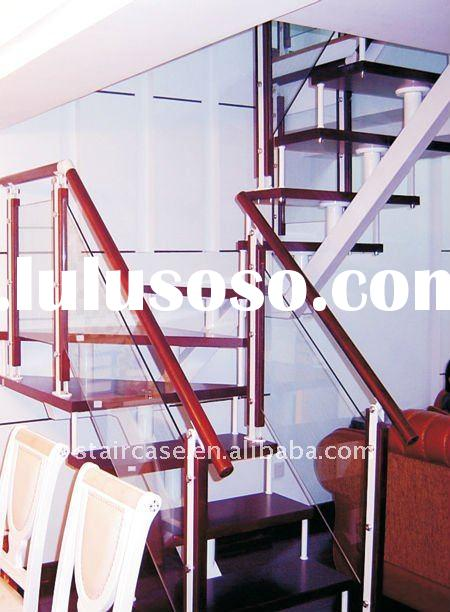 carbon steel and wood tread,glass railing stair