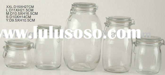 clear glass jar with clip lid