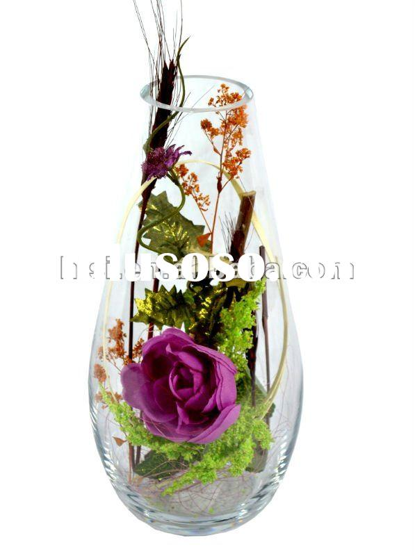 clear vases glass shape with flower of decoration for home