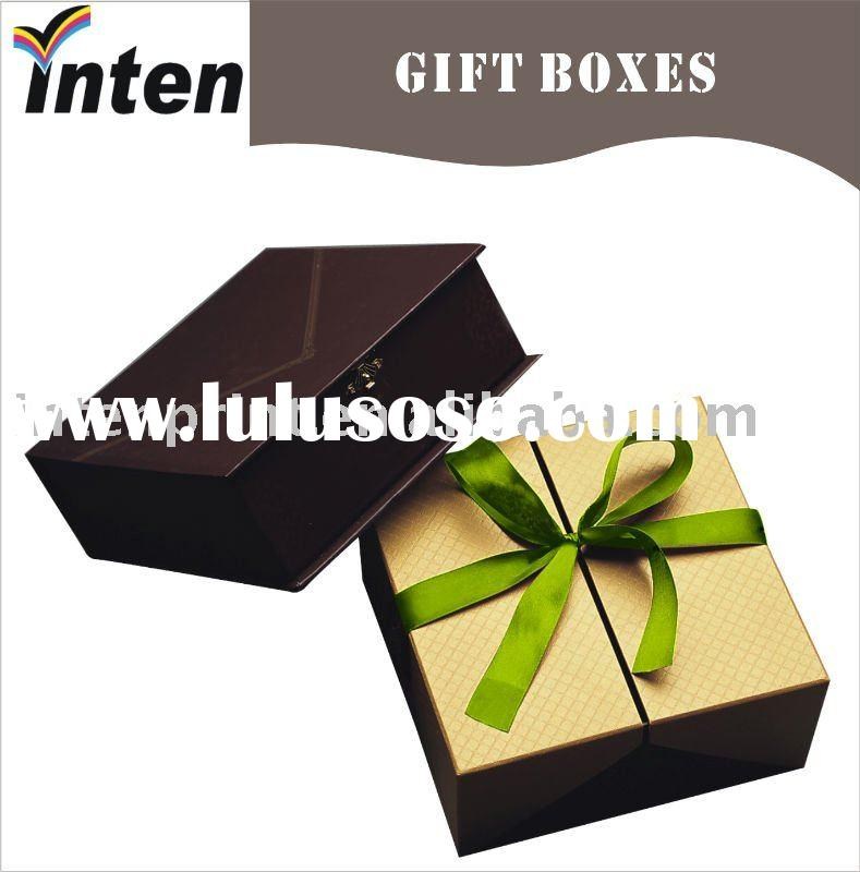 door style gift box packaging with ribbon bow